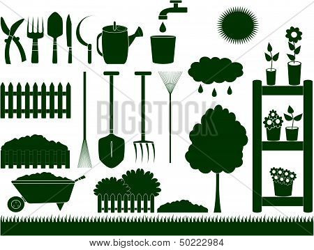 green garden tools isolated