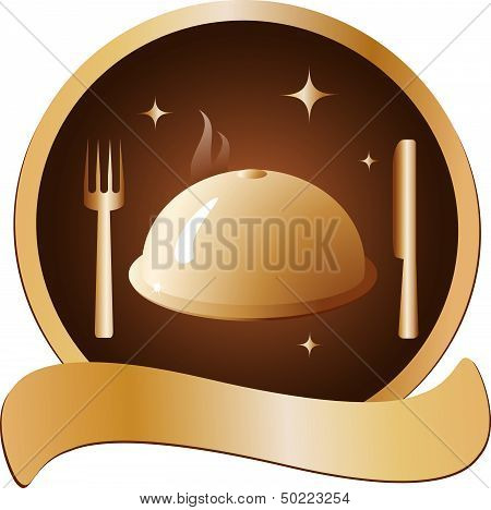 golden dish with fork and knife