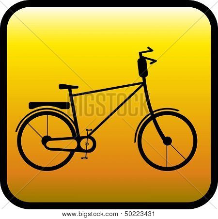 glossy icon with bicycle