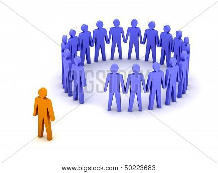 Stand out from the crowd. Unusual person.