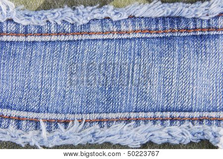 Blue denim jeans seam label texture