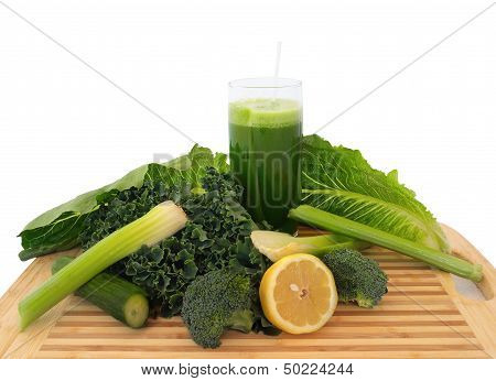 Glass Of Green Vegetable Juice