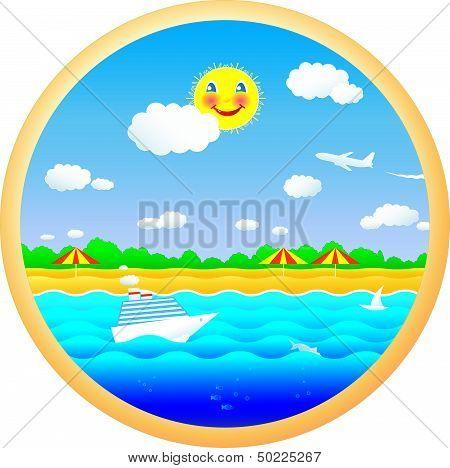 cheerful beach, sun, sea and summer