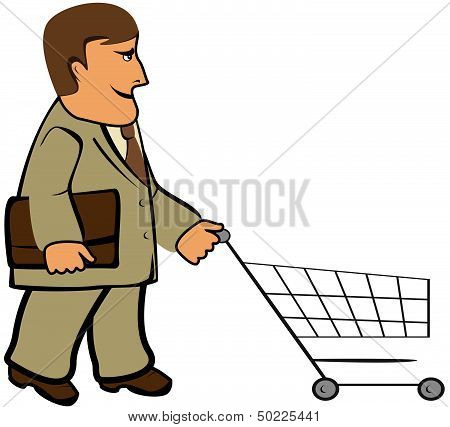 man with portfolio and shopping cart