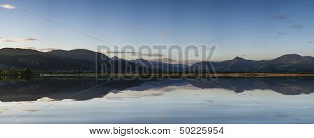 Beautiful Summer Panoramic View From Porthmadog Cob Towards Snowdonia Mountains