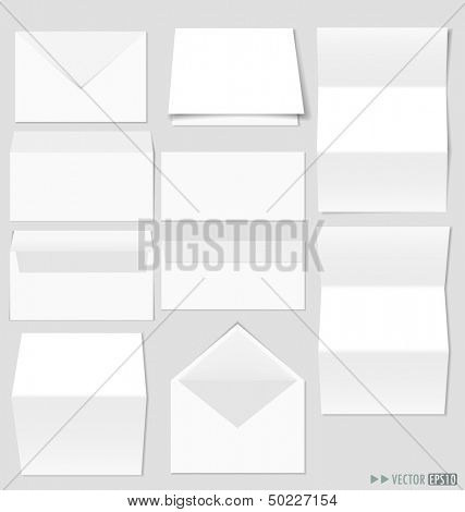 Collection of envelopes and white A4 papers, ready for your message. Vector illustration.