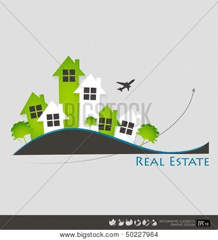 Real Estate House. Vector illustration.