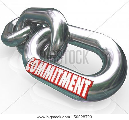 The word Commitment on chain links locked together to illustrate dedication, determination, promise, loyalty, trustworthiness and sincerity