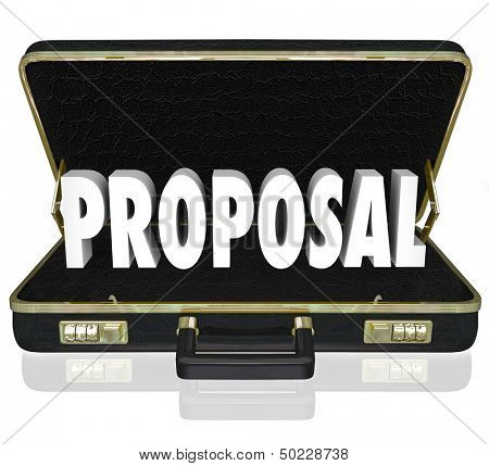 The word Proposal in an open briefcase to share a presentation during a sales call by a salesperson