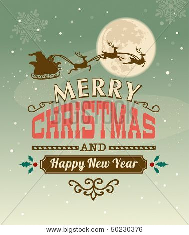 Vintage vector Christmas card with typography design