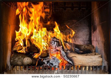 Fireplace or furnace invites you with its cozy blazing fire to warm up