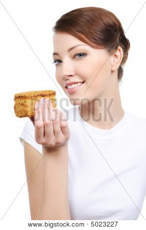 Beuty Woman With Cake