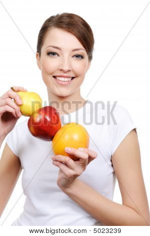 Woman Holding Some Fruits