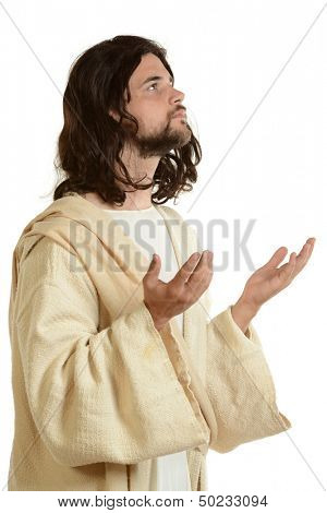 Portrait of Jesus praying and looking up isolated on a white background