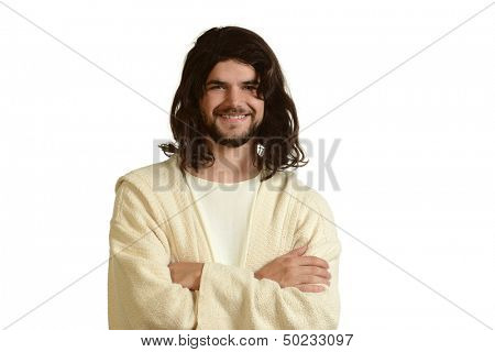 Portrait of Jesus smiling with his arms crossed isolated on a white background