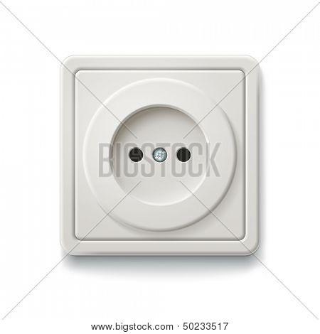 White socket isolated on a white background. Vector illustration