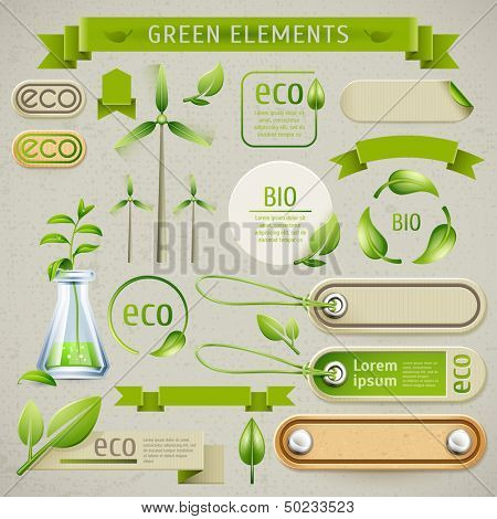 Vector set of eco symbols, labels and icons. Ecology design and production of natural
