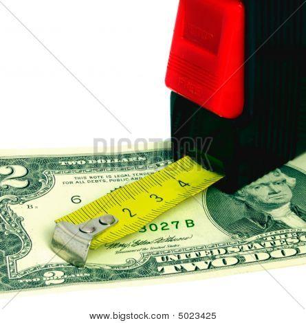 Erweiterte retractable Maßband und us-Dollar