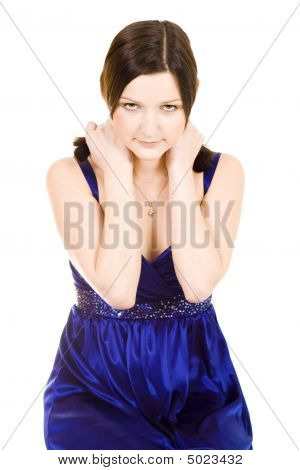 Shy Woman Holding Shouldres With Her Hands