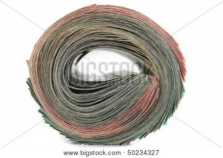 Roll of money studio isolated on white background