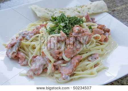 Linguine Alfredo With Smoked Salmon Closeup
