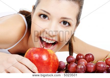 Beauty Girl And Nice Fruits
