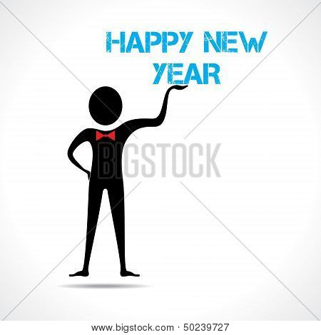 Man holding happy new year text