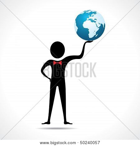 Man holding a globe vector