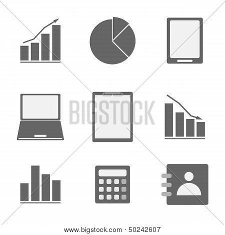 Business Icon Set On White Background