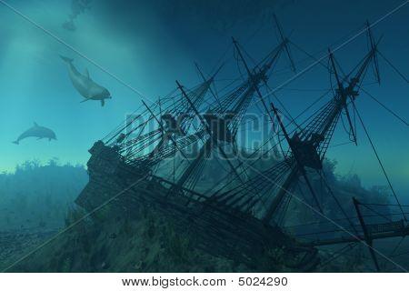 Shipwreck Beneath The Sea
