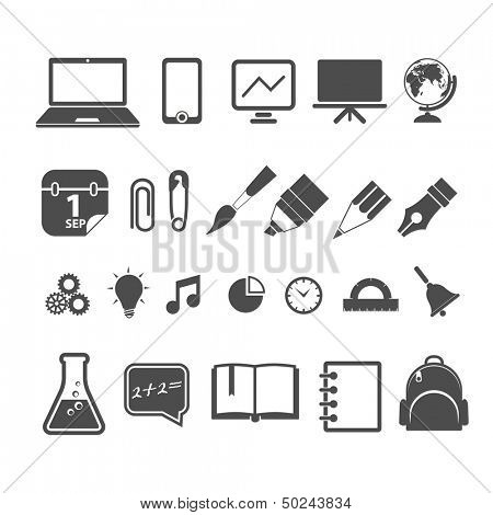 Education silhouettes collection isolated on white