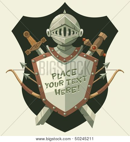 Knight's helmet and shield. Vector illustration.