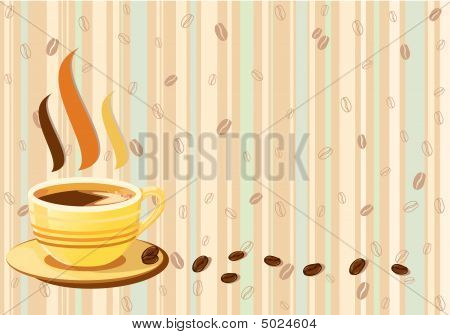 Aromatic Cup Of Coffee Over Retro Background