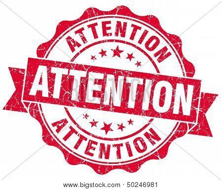 Attention Grunge Red Stamp