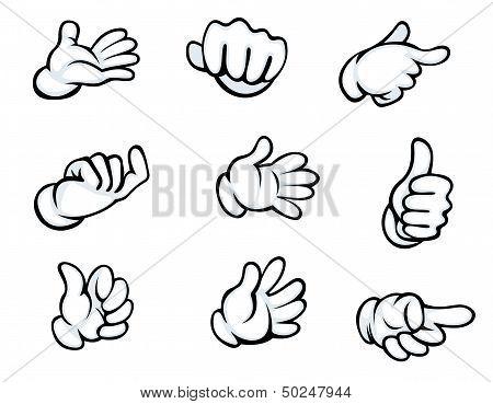 Set of hand gestures