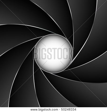 Camera shutter aperture vector background with white copy space.