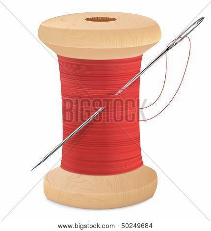 Spool Of Thread With Needle Isolated On White. Vector Illustration