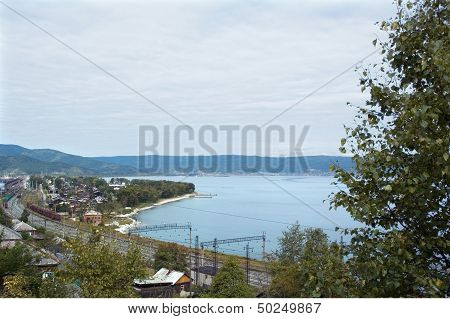 Settlement on the shore of lake Baikal