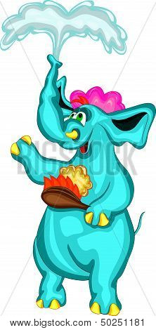 cheerful elephant with a washcloth taking a shower