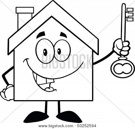 Outlined House Holding Up A Key