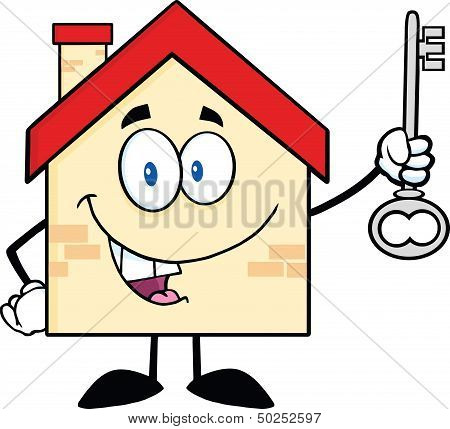 House Character Holding Up A Key
