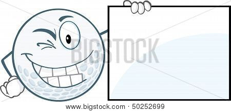Winking Golf Ball With Showing A Sign