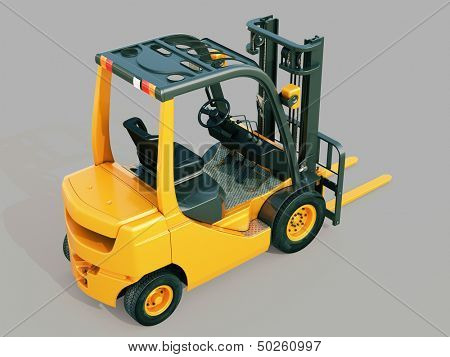 Modern forklift truck on gray background
