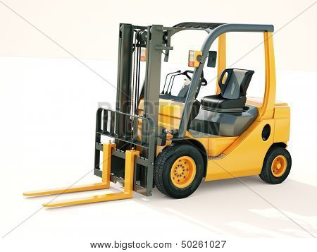 Modern forklift truck on light background