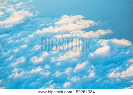 topview of cloud scatter on blue sky in nature
