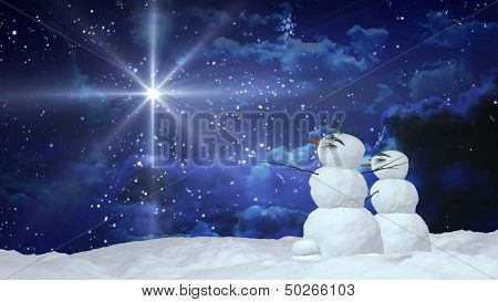 Christmas Snowmen With White Star