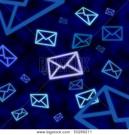 Email Message Icons Floating In Blue Cyberspace