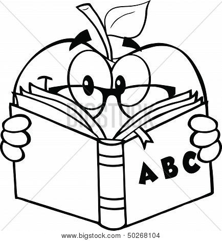 Black And White Apple Teacher Character Reading A Book