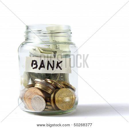 Money on the bottle,dollar,isola ted on white background