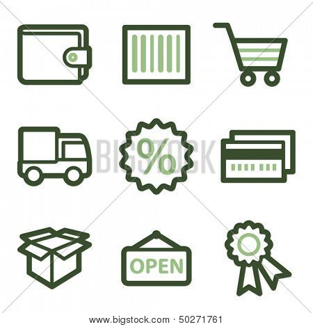 Shopping icons set 2, green line contour series